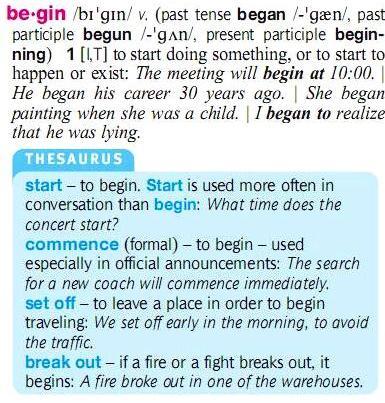 begin-start-commence