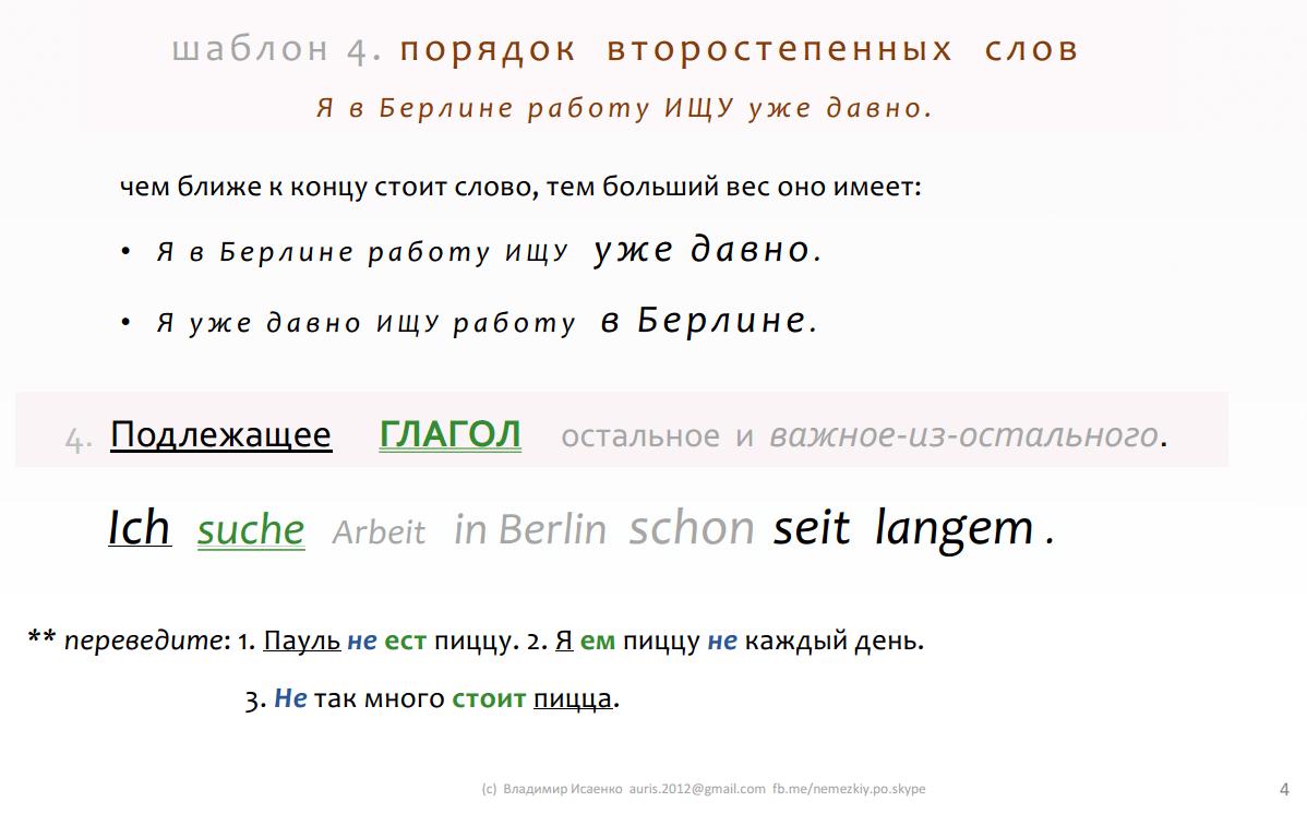 4. ключевые правила немецкого языка в шаблонах