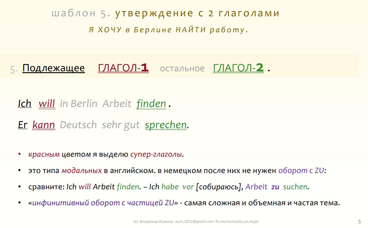 5. рамка немецкого языка с двумя глаголами