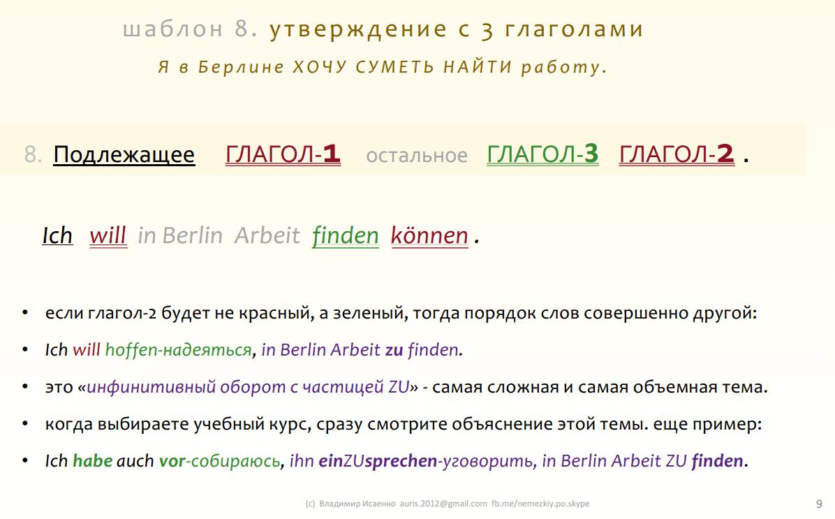 9. немецкое утверждение с тремя глаголами